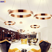 IWHD Nordic Round LED Pendant Lights Fixtures Dinning Living Room Post Modern Gold Hanging Lamp Hanglamp