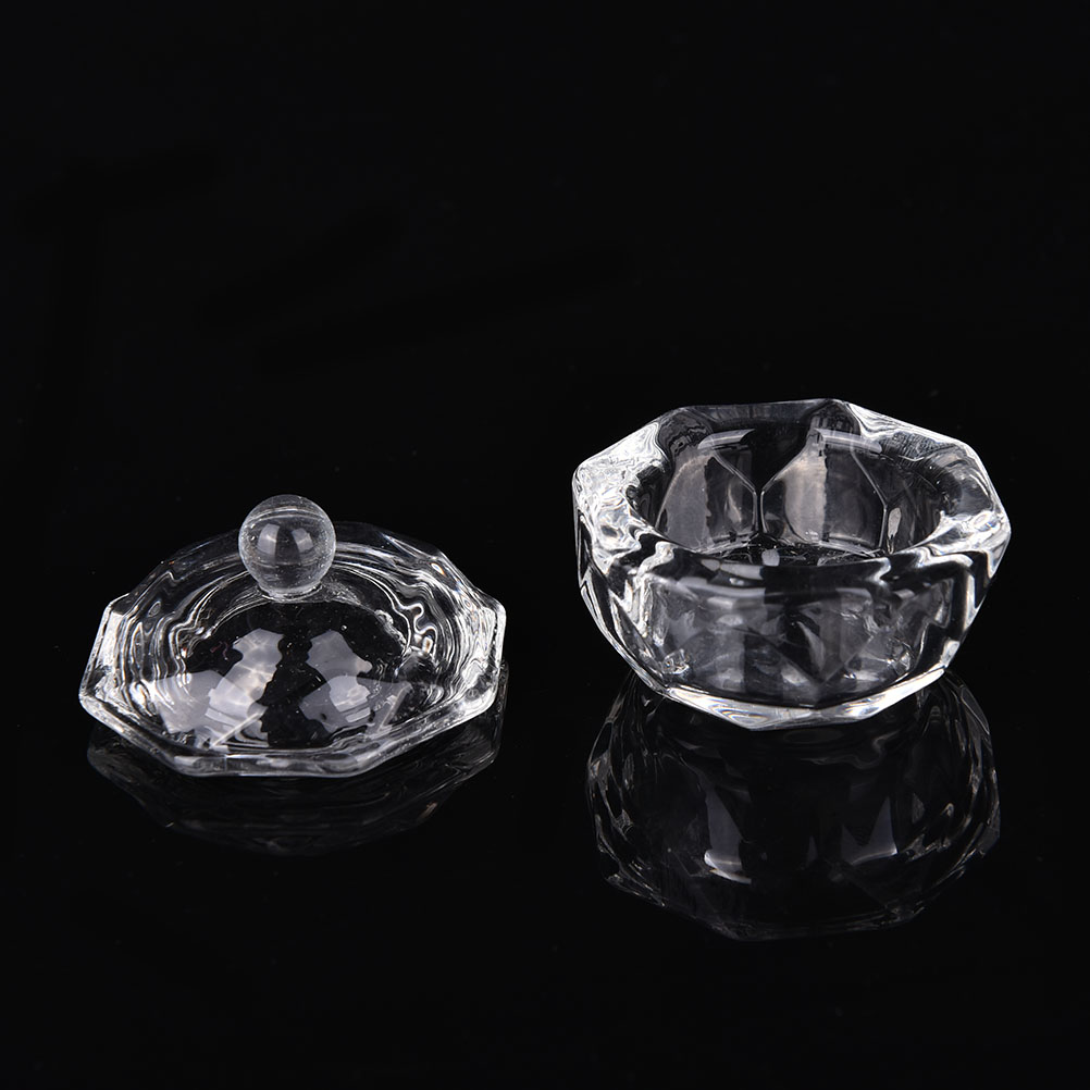 Crystal Glass Dish Cup For Nail Art Liquid Powder Nail Styling Tool Everything For Manicure Beauty Health Nail Art Equipment