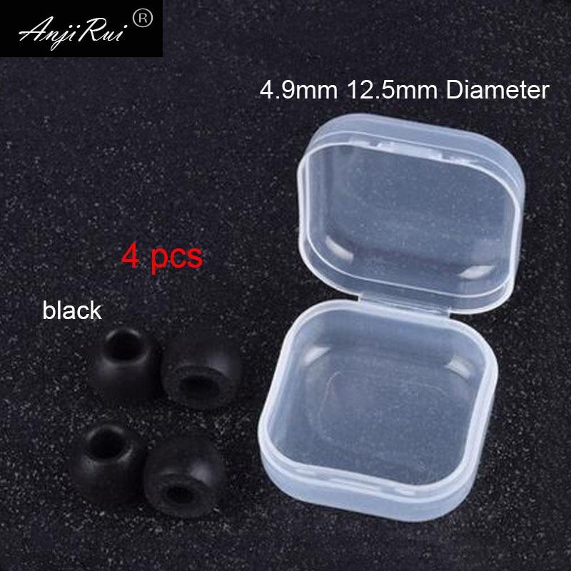4 pcs/2 pairs. ANJIRUI TS400 black M Caliber Ear Pads/cap 4.9mm memory foam eartips for in-ear earphone tips sponge Ear cotton