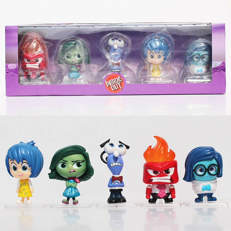 5PCS/SET High Quality Genuine Movie Cute Doll Inside Out Joy Anger Disgust Sadness Fear PVC Action Figure Model Toy Collection 5pcs set simulation model toy scene decoration cowboy pvc figure rare out of print