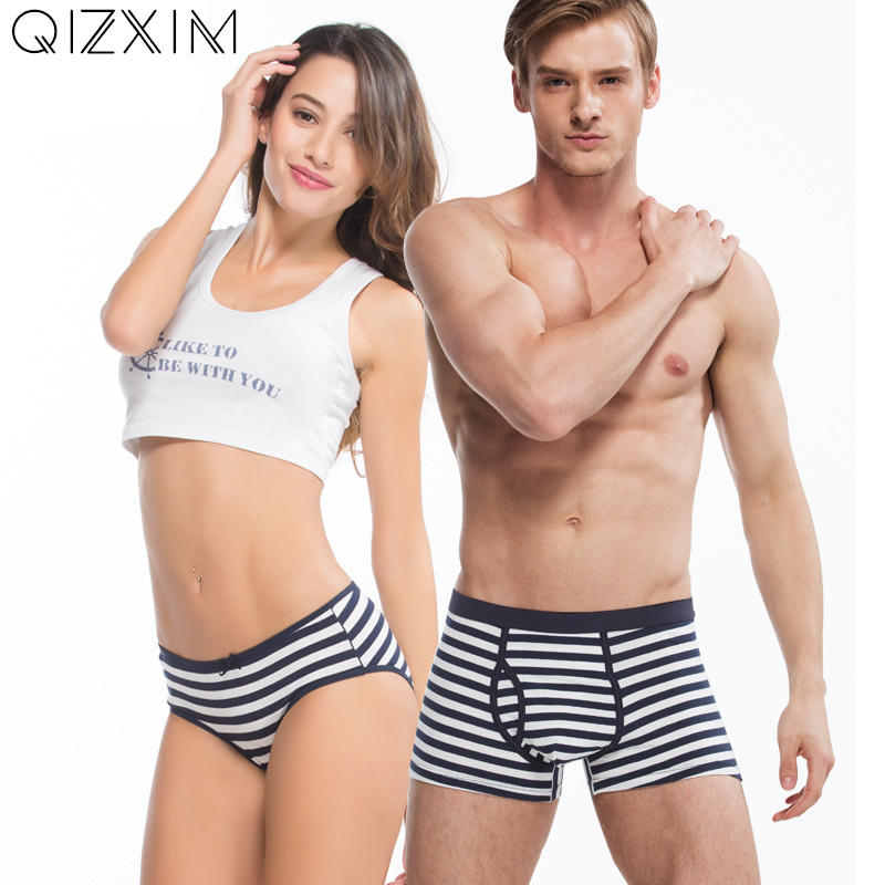QIZXIM Navy stripes Print Couples Underwear Lovers Panties Men Boxers Women Panties Soft Cotton Underpants Valentines Underwear