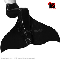 Sexy full latex Mermaid Tail body suit rubber catsuit Black Jumpsuit overall play suit uniform bodycon dress XXXL plus QZ 064
