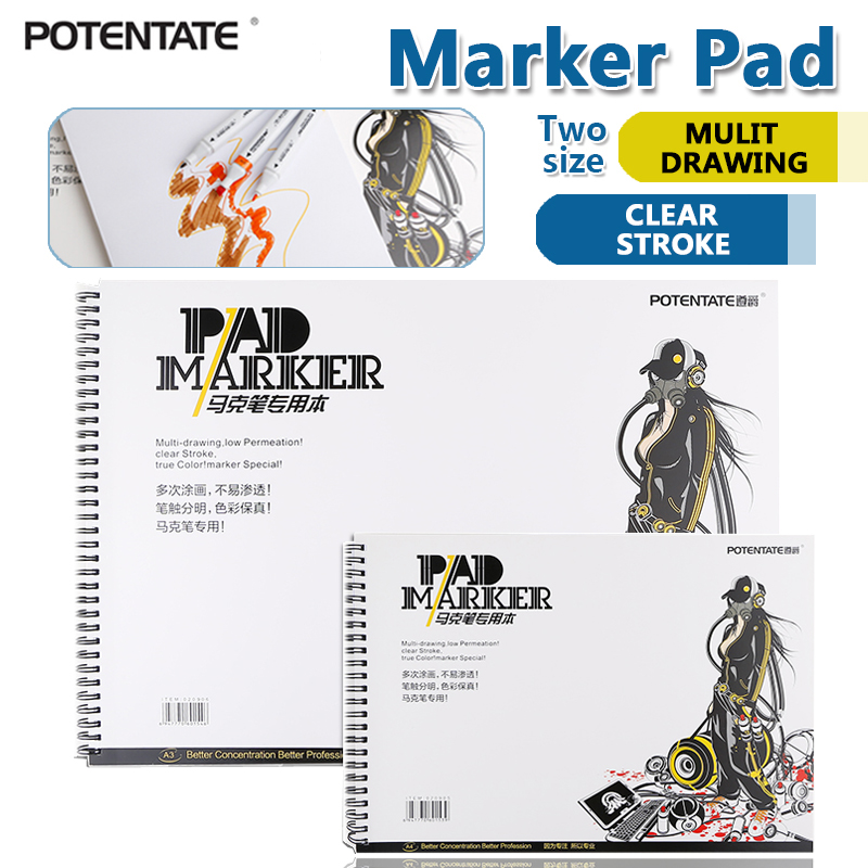 POTENTATE 120gsm A4 A5 32 Sheets Spiral Marker Pad Sketch Stationery Notepad Set For Drawing Book Manga Supplies