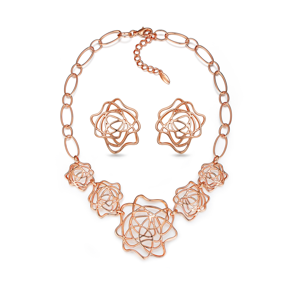 Viennois Hollow Flowers Jewelry Sets Rose Gold Color Necklace Earrings Set for Women Wedding Party viennois new blue crystal fashion rhinestone pendant earrings ring bracelet and long necklace sets for women jewelry sets