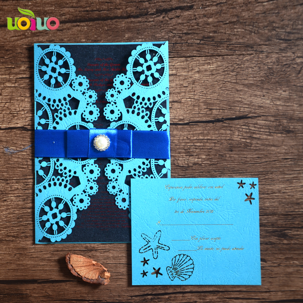 Laser Cut Customized Wedding Invitations Time Metallic Paper Silver Color  With Insert,envelope And Seal