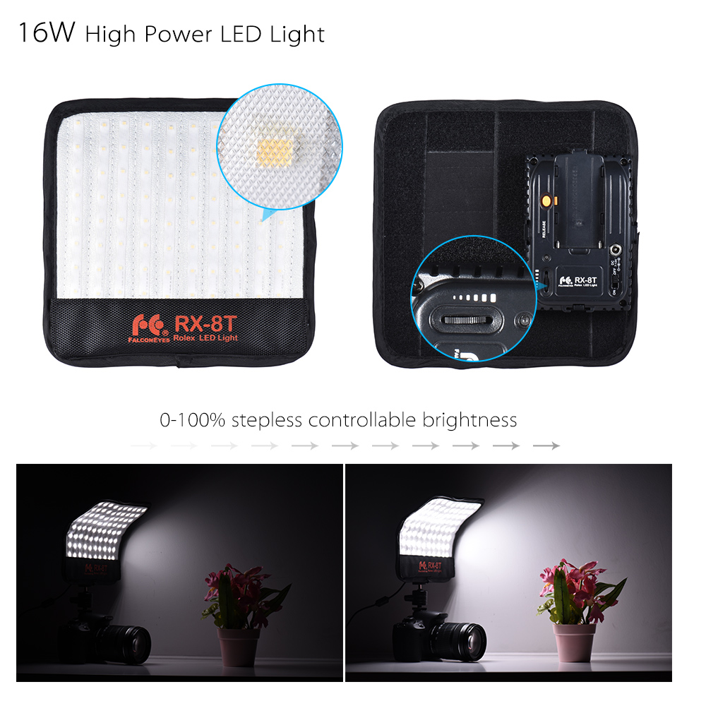 FalconEyes RX 8T 16W Mini luz led para vídeo 5600K CRI94 paño Flexible lámpara de luz diurna a prueba de salpicaduras para fotografía de estudio - 3
