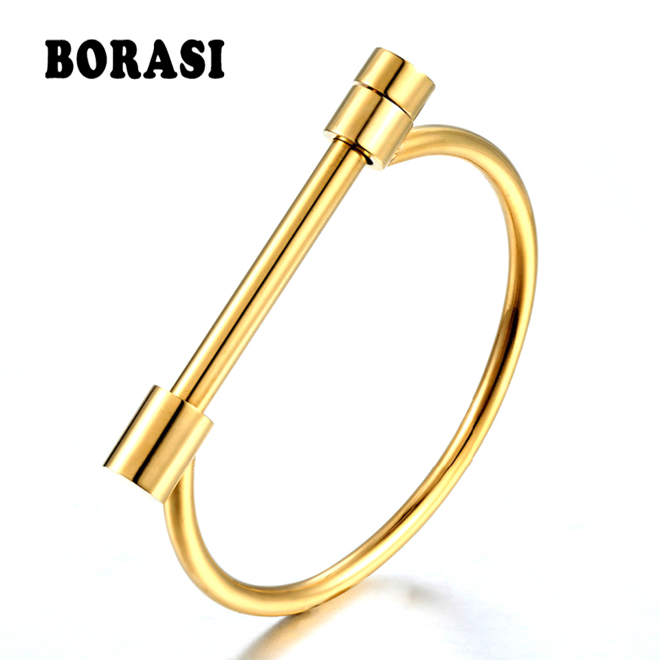 Fashion Luxury Famous Brand Jewelry Stainless Steel Women Gold Color Bangle Lady Matched D Upper Arm Bracelet Love Screw Bangle недорого