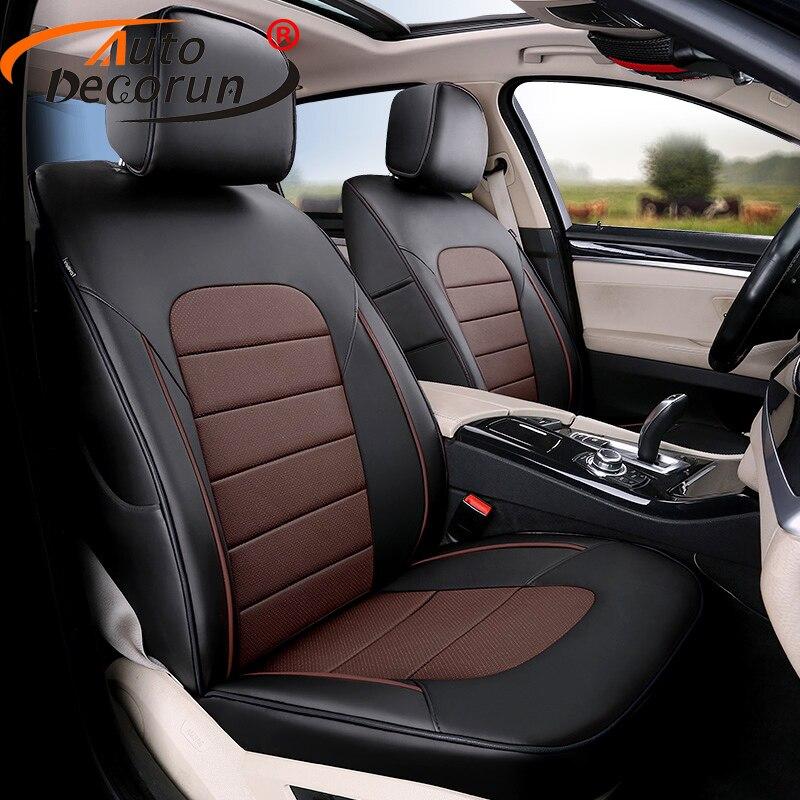 AutoDecorun perforado de cuero de piel de vaca fundas de asiento para Audi A3 Sportback cubierta de asiento de cuero genuino accesorios Airbag 14 PC