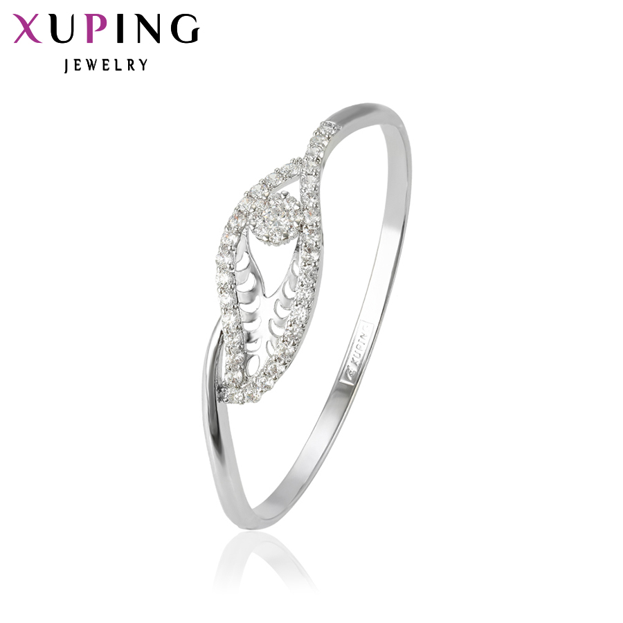 11.11 Xuping New Arrival Luxury Bangle Charm Design Rhodium Color Plated Jewelry for Women High Quality Gift 50640