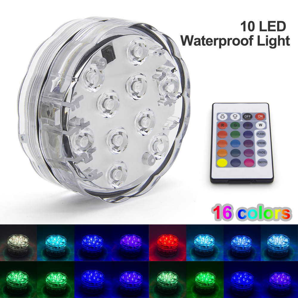 10leds Rgb Led Underwater Light Pond Submersible Ip67 Waterproof Swimming Pool Light Battery Operated For Wedding Party Led Lamps