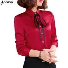 Primavera nova alta qualidade camisa vermelha moda feminina formal de negócios manga longa fino chiffon blusas escritório senhoras plus size topos