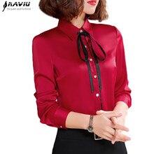 Primavera nueva camisa roja de alta calidad mujeres de moda Formal de negocios de manga larga blusas de gasa delgada Oficina señoras Tops de talla grande