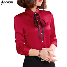 Spring New High Quality Red Shirt Women Fashion Formal Business Long Sleeve Slim Chiffon Blouses Office Ladies Plus Size Tops