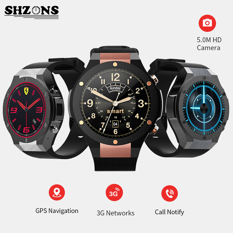 SHZONS H2 Smart Watch 3G Internet 1G+16G Memory Bluetooth GPS Wifi Sync For iphone & android Heart Rate Monitoring 500W Camera smart baby watch q60s детские часы с gps голубые