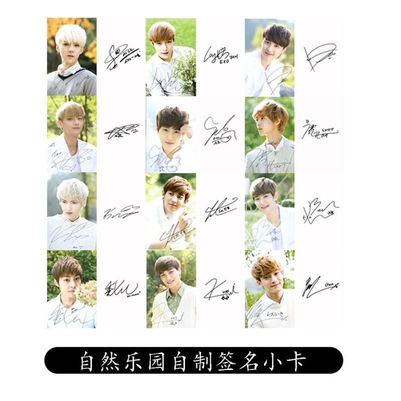 Youpop Wholesale KPOP Fan EXO EXO-K EXO-M Album Signature Small Cards Autograph Photocard