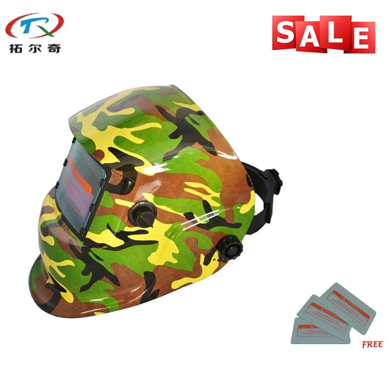 Light Filter Soldering Iron Protective Mask Mig Tig Mag Automatic Welder Mask Chameleon Welding Helmet TRQ-HD61with 2233FF