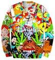 Drugs&weed Hot Men Women Sweatshirt Couples Sweats Unisex Sweatshirt Red Wine 3D Pullovers cartoon hoodies free shipping