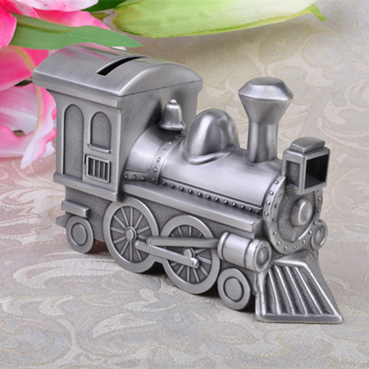 Retro Bank Design.Vintage Home Decor Retro Steam Train Design Piggy Bank Metal Table