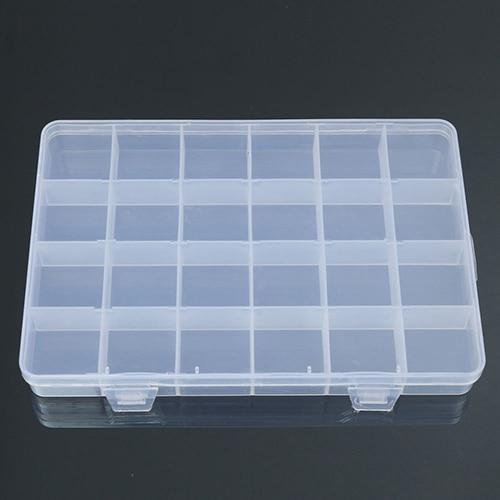 24 Compartments Plastic Box Case Jewelry Bead Storage Container
