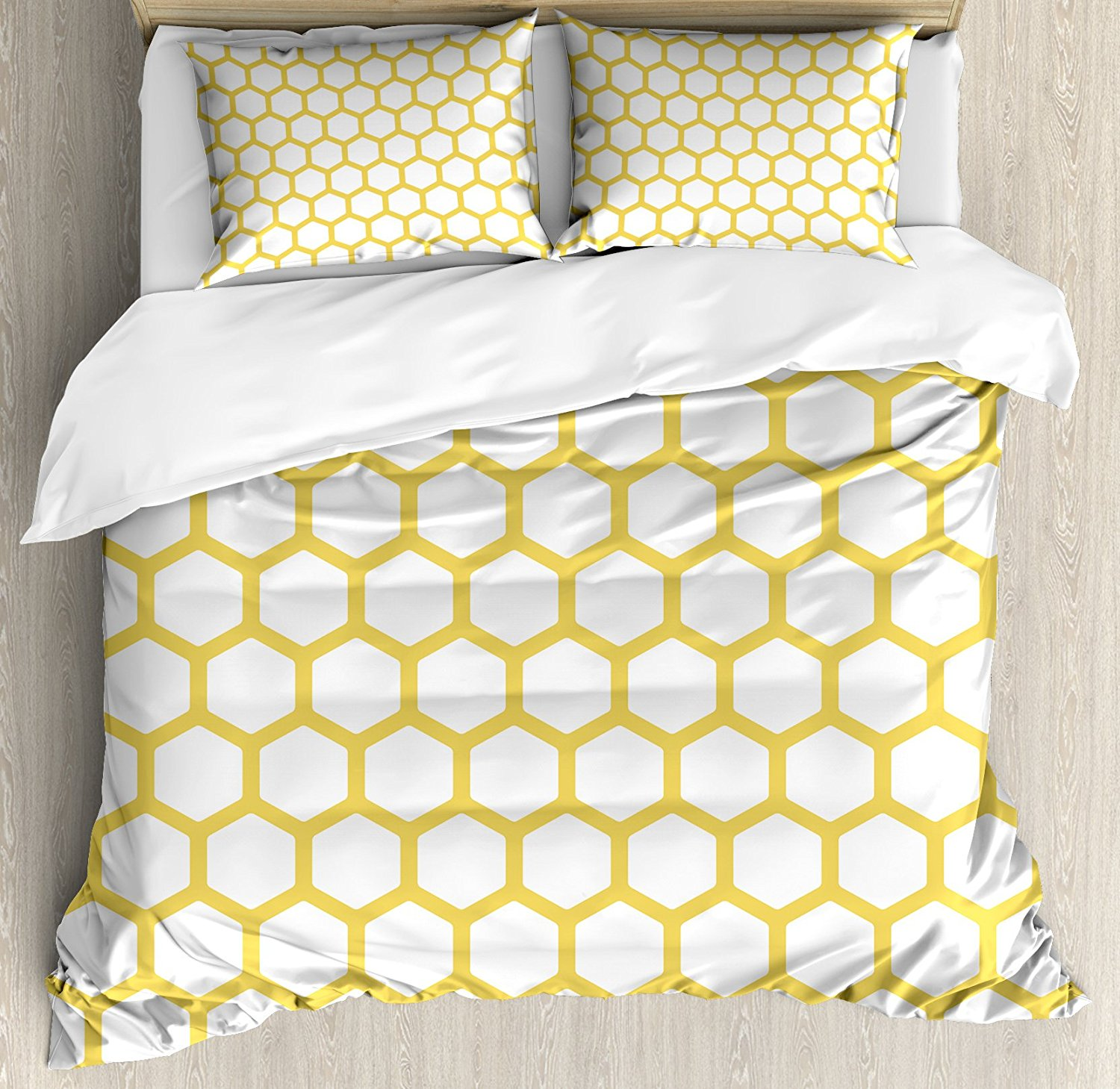 Yellow and White Duvet Cover Set Hexagonal Pattern ...