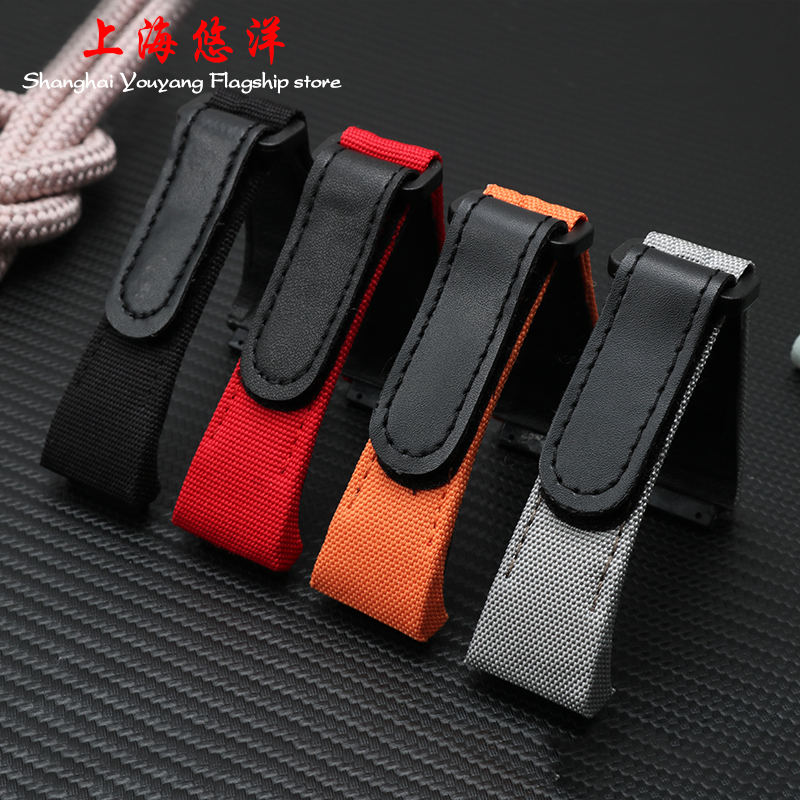 27MM Nylon Canvas Stitching Genuine Leather Watchband For RICHARD 7750  Accessory Man MILLE Watch Bracelet Wrist Sport|leather watchband|genuine leather watchband|watches bracelet - title=