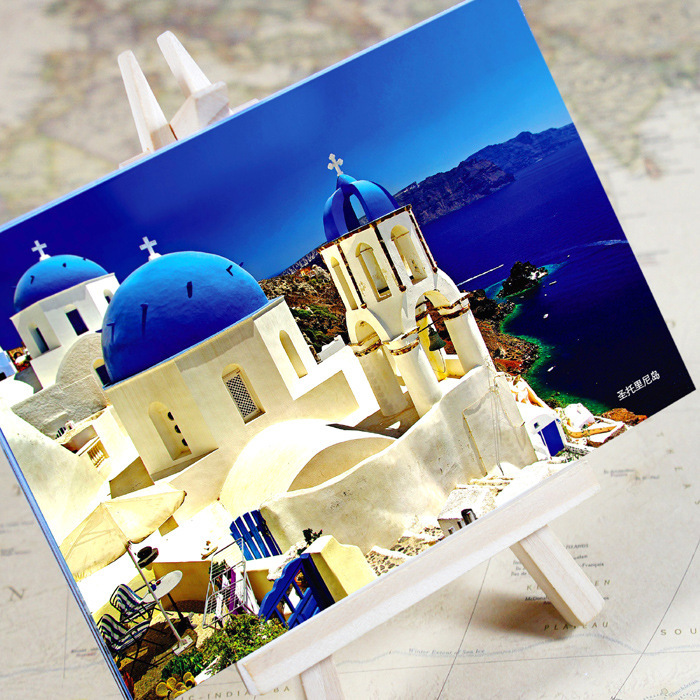 Office & School Supplies 6pcs/set charming City Series Santorini Urban Landscape Postcard /greeting Card/birthday Card/christmas Gifts Colours Are Striking