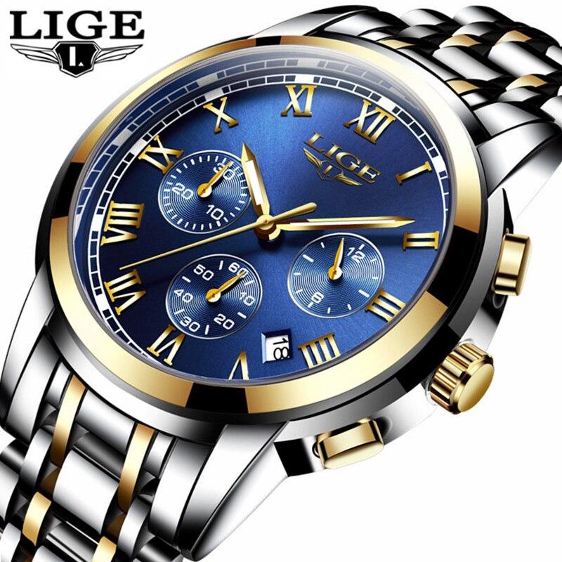 LIGE Fashion Brand Mens Watches Multifunction waterproof Qua