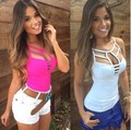 Sexy Nightclub Camisole Hollow Out High Cut T-shirts Show Breast New Arrival 2016 Hot Sexy T Shirts Female Tops
