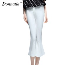 Donnalla Female Flare Pants Summer White Calf-length Skinny Slim Lady Trousers Style Women Elegant Office Work Capris Pants