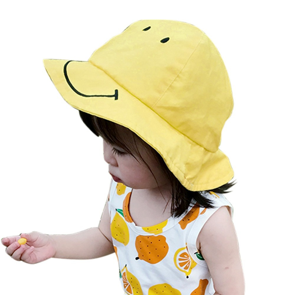 Summer New Fashion Sweet Baby Girls Hat Smile Face Pattern Soft Cotton Blends Lace-up Visor Beanie Kids Cap