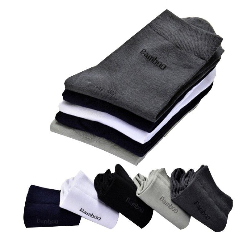 Brand New Men Bamboo Fiber Socks High Quality Casual Breatheable Anti-Bacterial Man Long Sock 5pairs / lot 2017 Winter Men Sox