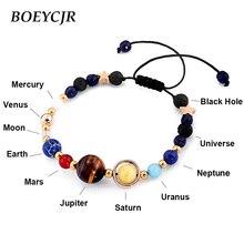 BOEYCJR universo planetas cuentas brazaletes y pulseras de joyería de moda Natural Sistema Solar pulsera para las mujeres o los hombres 2019