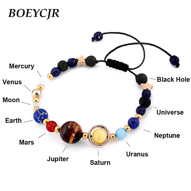 BOEYCJR יקום כוכבי לכת חרוזים צמידים & צמידי תכשיטים טבעי שמש מערכת אנרגיה צמיד לנשים או גברים 2019