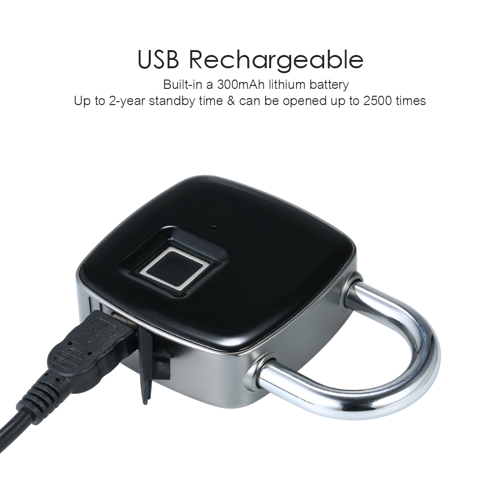 USB Rechargeable Smart Key-less Fingerprint Lock 4