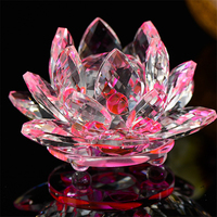 50mm Quartz Crystal Lotus Flower Crafts Glass Paperweight Fengshui Ornaments Figurines Home Souvenir Gifts Wedding Party Decor