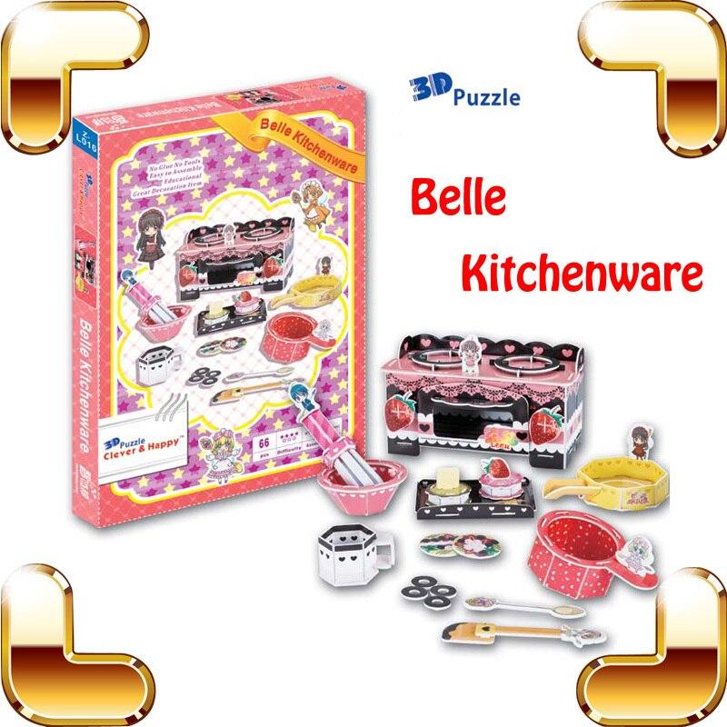 Nouveau bricolage cadeau Belle ustensiles de cuisine Puzzle 3D mignon Mini cuisine bébé Puzzle apprentissage travail éducation outil enfants IQ jeu jouets
