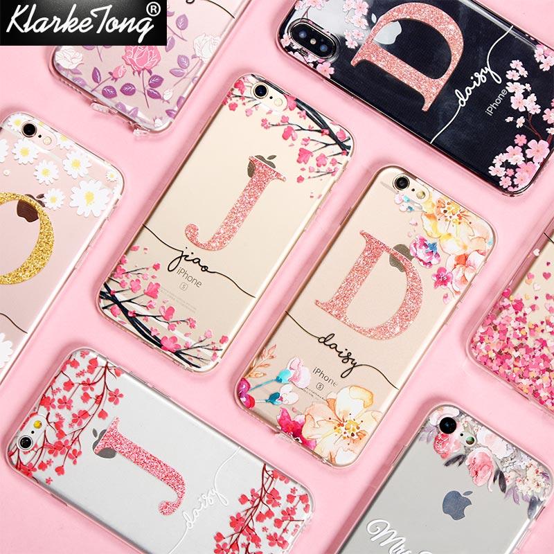 KlarkeTong Cerezo Flor del brillo nombre caso de teléfono personalizado para iPhone XS MAX XR 8 7 6 más 5 5S transparente suave cubierta de silicona