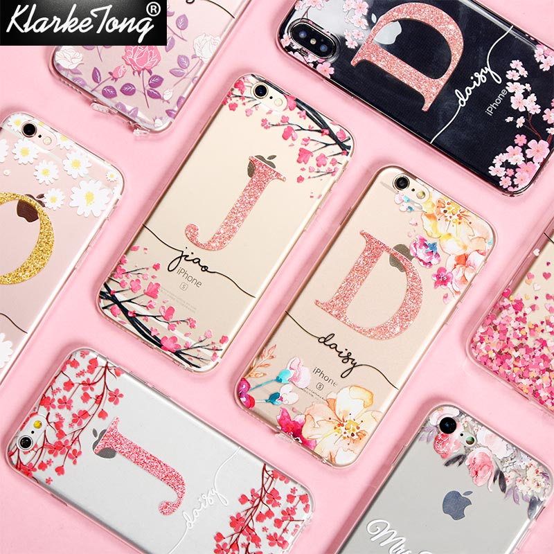 KlarkeTong Cherry blossom Glitter Flower Name Custom Phone Case For iPhone X 8 7 6 Plus 5 5s Soft Clear Silicone Cover