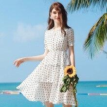 Wasteheart Summer White Women Long Dresses Holiday Sexy Sundress Chiffon Dots Sweet Beach Style Lanon