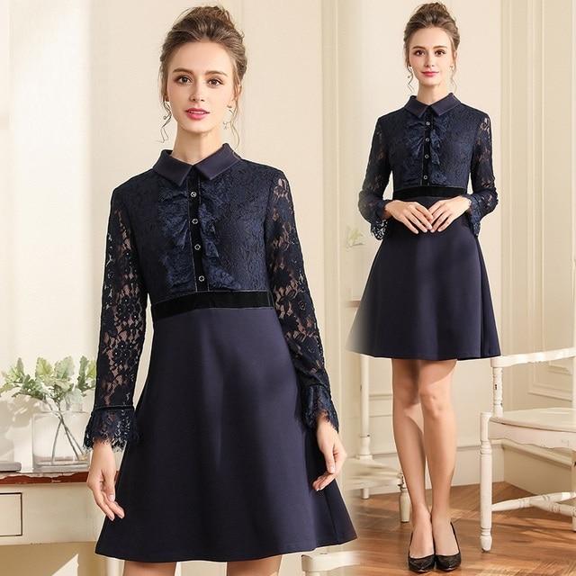 New 2018Autumn Ladies elegant A-line dress lace patchwork Work dress Peter  Pan collar vestidos plus size tunics L-XXXXXL 4XL 5XL b38a0ac84a30