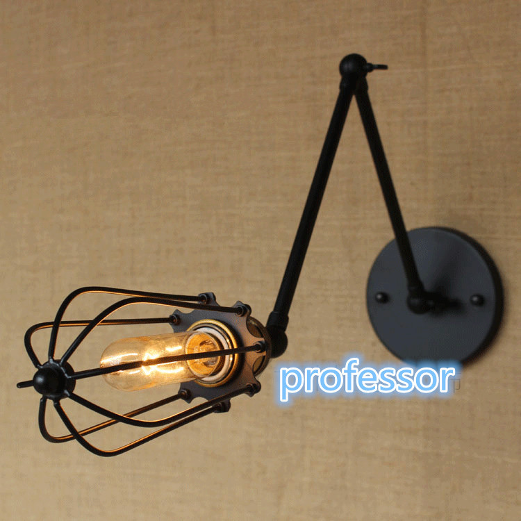 Retro vintage antique Two Swing Arm Wall Lamp For Bedroom Bedside Adjustable Wall Mount Swing Arm cage Lamp with steering head цена