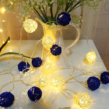 4m 20 Rattan Ball LED Battery Operated Light String 2M Decoration Lighting Chains for Christmas Hallowmas