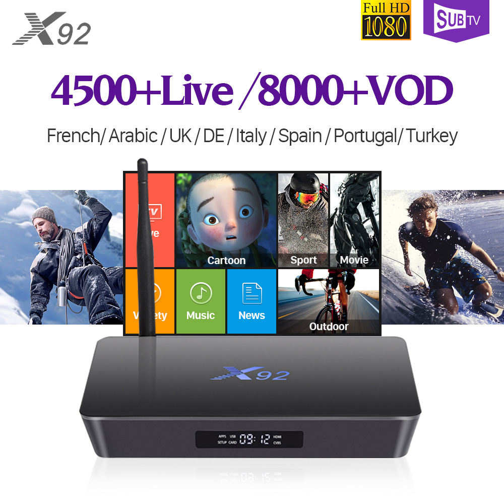 IPTV Receiver Box Turkish Portugal X92 2G+16G 3G+32G Android 7.1 Italy France Arabic SUBTV Subscription IPTV Box H.265 Decoder x96 iptv android arabic france subscription s905x quad core 2g 16g turkish portugal iptv box 1 year iptv code subscription italy