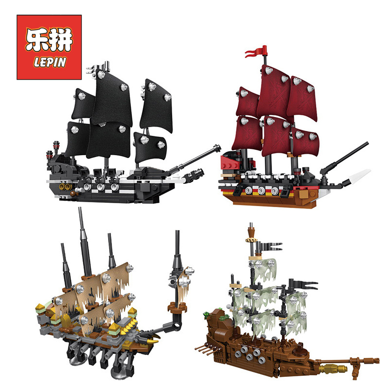 Lepin 03058 Movie Series Pirate Ship Caribbean 4 in 1 Black Pearl Queen Anne's Reveage Ship Model Building Blocks Bricks Toys lepin 22001 pirate ship imperial warships model building block briks toys gift 1717pcs compatible legoed 10210
