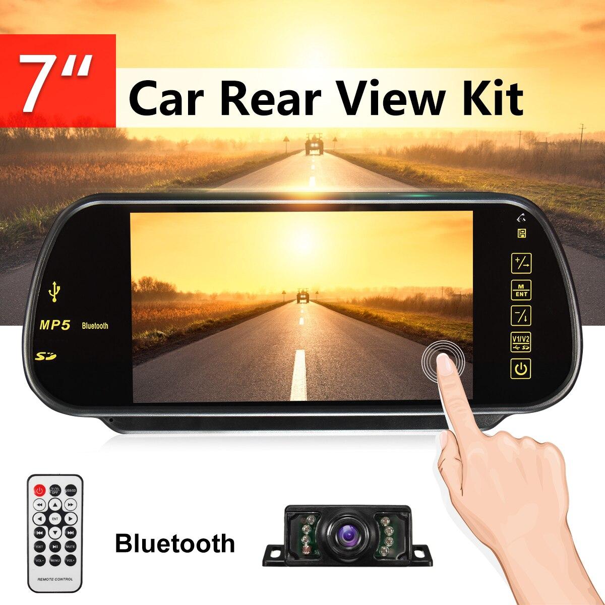 7 дюймов TFT ЖК-дисплей Сенсорный экран парковка Зеркало Ссылка монитор заднего вида резервного копирования Камера Bluetooth автомобиля MP5 плеер ...