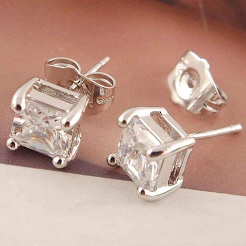 936e2787deb86 US $0.8 20% OFF Women 925 Sterling Clear Square Cubic Zirconia Ear Studs  Earrings 7DH6-in Stud Earrings from Jewelry & Accessories on Aliexpress.com    ...