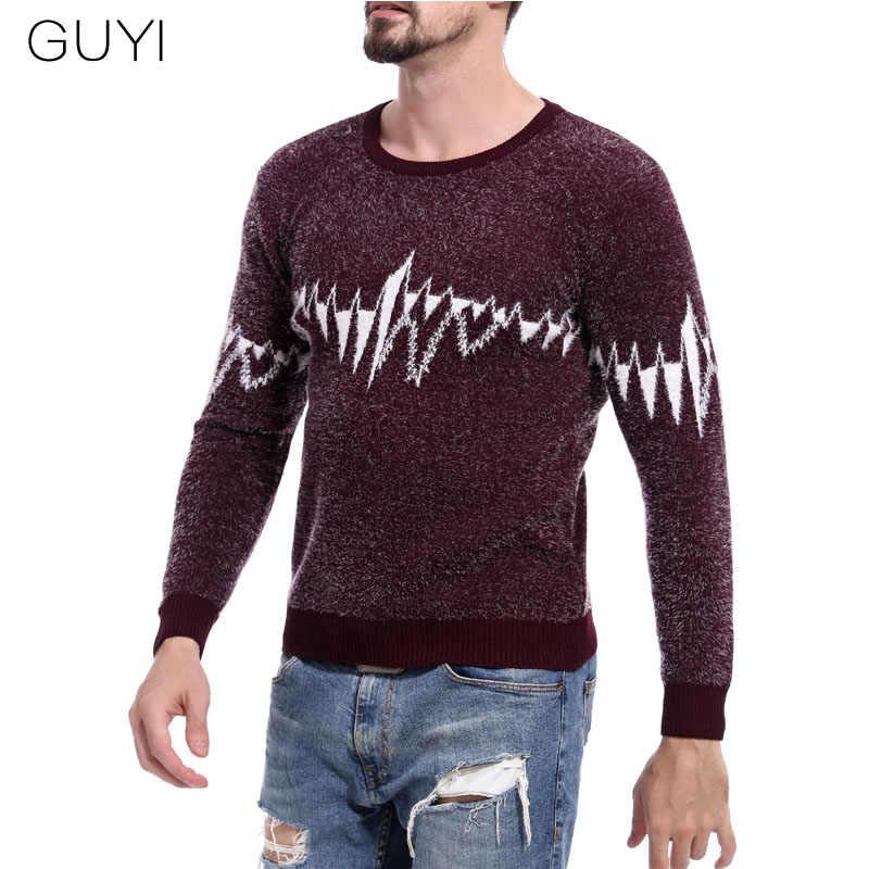 GUYI Schwarz Rot Wolle Blending EKG Muster Pullover Männer Oansatz Rippe Langarm Pullover Männlichen Mode Casual Streetwears Jumper