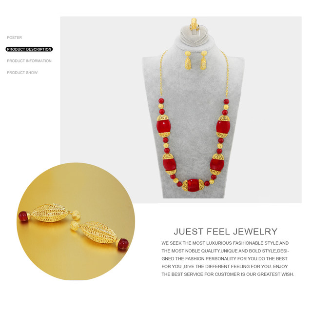 23b13d0982057 JUST FEEL Gold Color India Style Jewelry Set Round Big Faux Marble Stone  Long Necklace Vintage Jewelry(Necklace, Earring,Ring)-in Bridal Jewelry  Sets ...