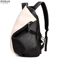VICUNA POLO Personalized Casual Patchwork Backpack Men Laptop Bags Fashion Large Capacity Leather Rucksack Men Travel Backpack