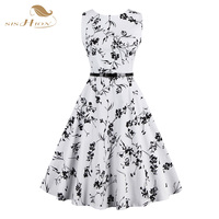 Sishion Plus Size Women Summer Dress White And Black Floral Vintage Dress 50s 60s Rockabilly Swing